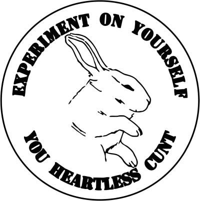 Experiment On Yourself Against Animal Testing Vegetarian Vegan Animal Rights ALF Rabbit | Die Cut Vinyl Sticker Decal