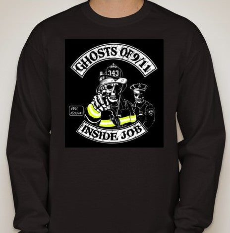 Ghosts of 911 Fireman Policeman Long Sleeve T-shirt | Blasted Rat