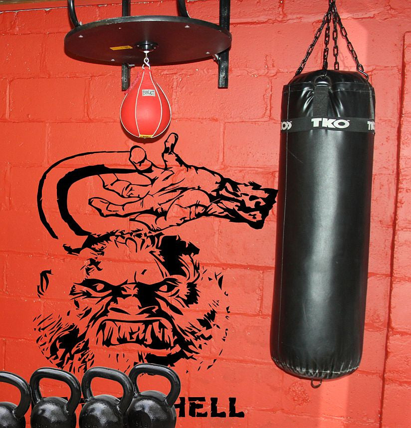 Kettlehell Gym Wall Crossfit MMA Kettlebell | Die Cut Vinyl Sticker Decal