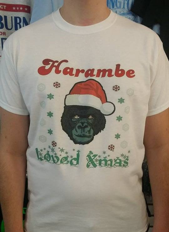 Harambe Loved Xmas Christmas Gorilla T-shirt