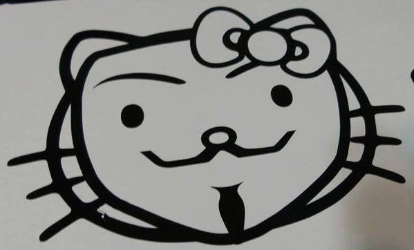 Anonymous Hello Kitty Head | Die Cut Vinyl Sticker Decal