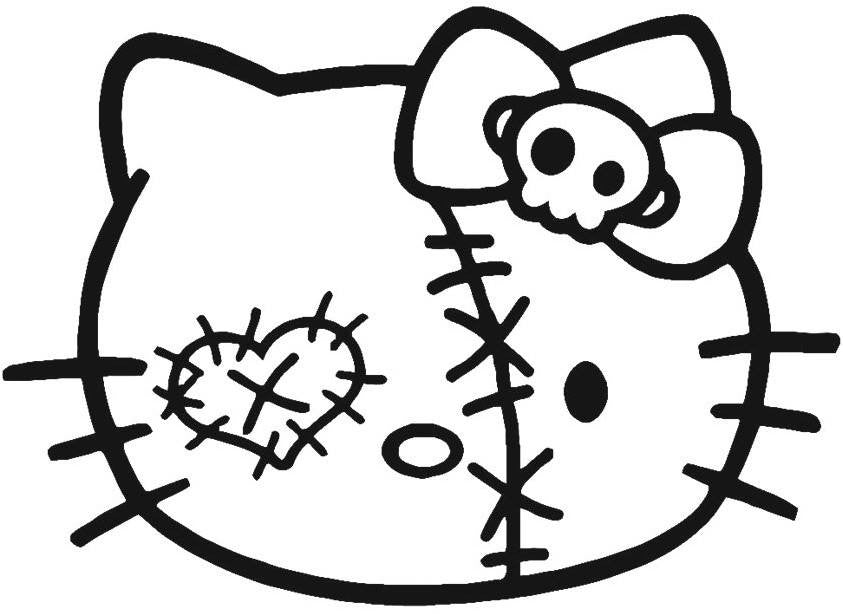 Hello Kitty Patched Zombie Head - Die Cut Vinyl Sticker Decal