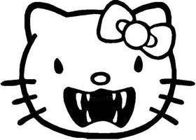 Hello Kitty Sharp Teeth - Die Cut Vinyl Sticker Decal