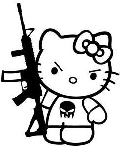 Hello Kitty AK-47 Punisher Skull - Die Cut Vinyl Sticker Decal