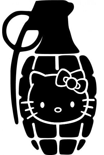 Hello Kitty Hand Grenade - Die Cut Vinyl Sticker Decal