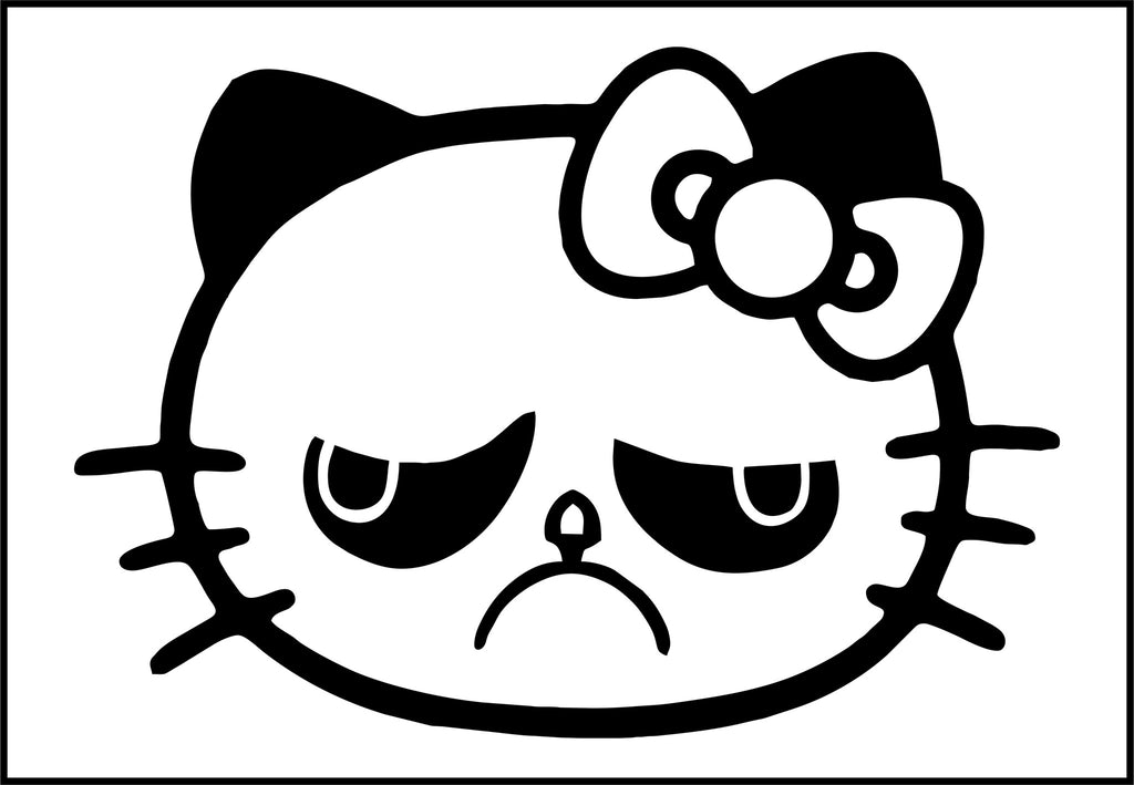 Hello Kitty Grumpy Cat - Die Cut Vinyl Sticker Decal
