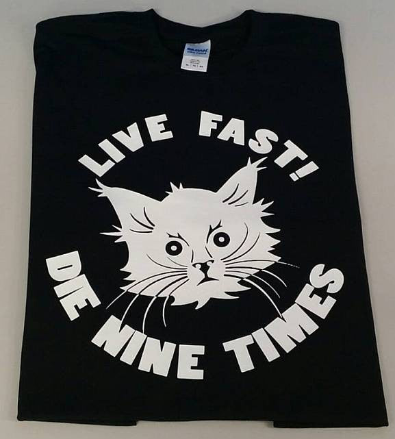 YOLNT Cat Live Fast Die 9 Times T-shirt