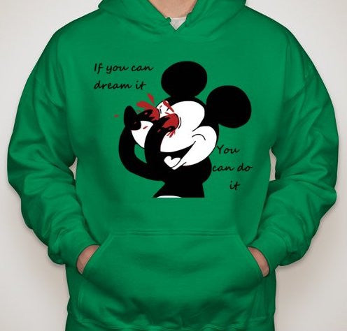 Mickey Mouse Bleeding Eyes You Can Do it Hoodie