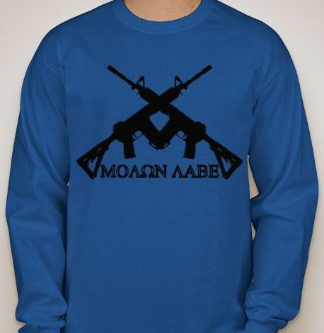 Molon Labe Crossed AR15s Long Sleeve T-shirt | Blasted Rat