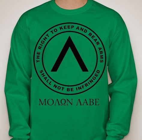 0669725b Molon Labe Right To Bear Arms Long Sleeve T-shirt | Blasted Rat