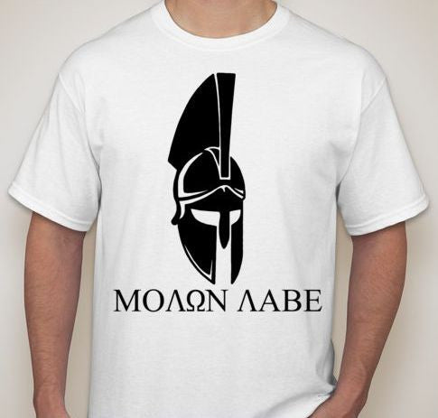 Molon Labe Spartan Helmet Front View T-shirt | Blasted Rat