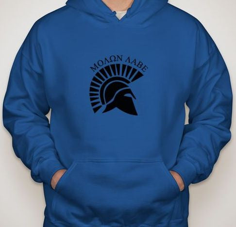 Molon Labe Spartan Helmet Side View Hoodie | Blasted Rat
