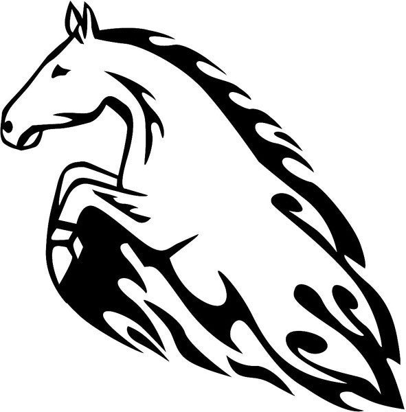 Horse with flames, Mustang - Die Cut Vinyl Sticker Decal