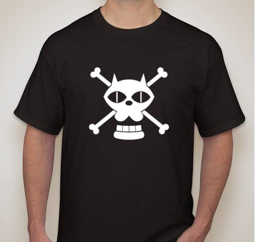 One Piece Anime Black Cat JOLLY ROGER Pirate Flag T-shirt | Blasted Rat