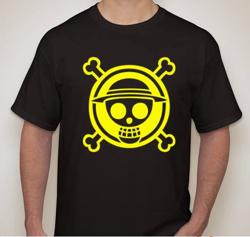 One Piece Anime Straw Hat Jolly Roger Yellow Art T Shirt Blasted Rat