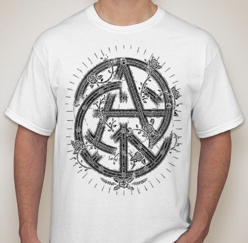 Anarchy Peace Rose Skull Intertwined Symbols T Shirt Blasted Rat