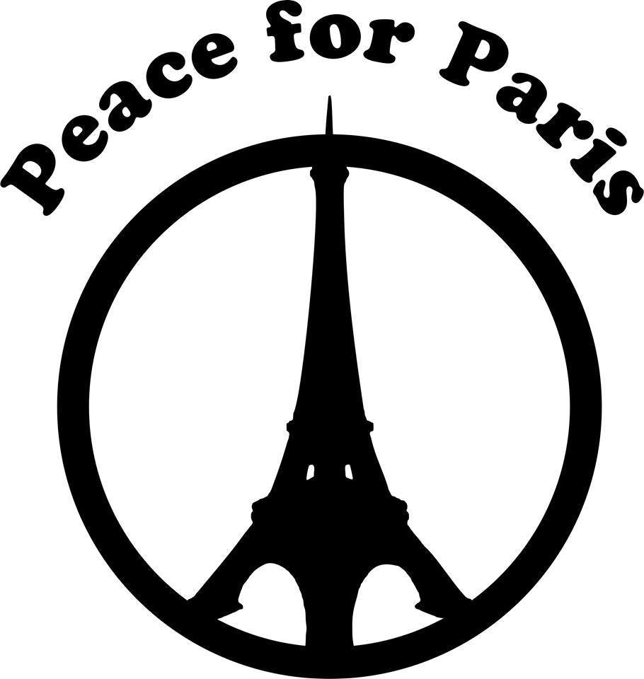 Eiffel Tower Peace For Paris November 13 2015 Terror Attack Solidarity With The Victims | Die Cut Vinyl Sticker Decal | Blasted Rat