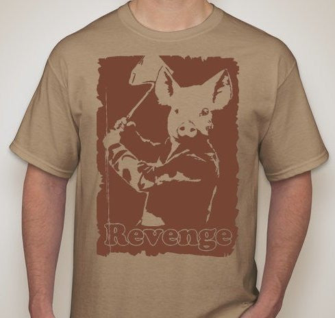 Revenge Of The Pig With Axe Vegetarian Vegan Animal Rights ALF T-shirt