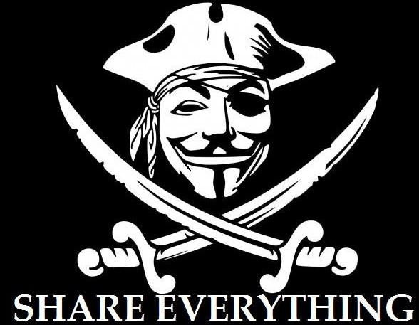 Anonymous Pirate - Share Everything - Die Cut Vinyl Sticker Decal