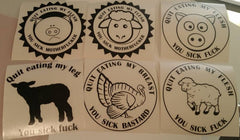 Quit Eating Me You Sick Fuck Vegetarian Vegan Animal Rights ALF Sheep Pig Turkey Lamb | Die Cut Vinyl Sticker Decal Combo Pack of 6