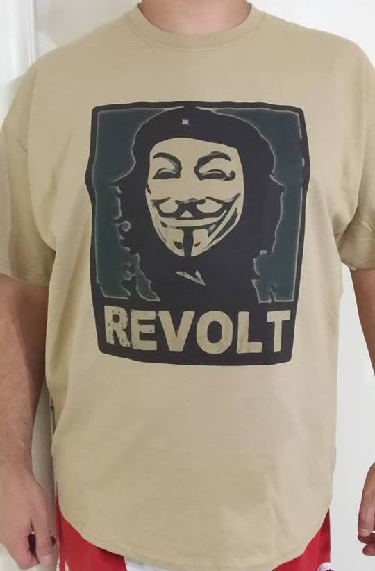 Anonymous Che Guevara REVOLT with Guy Fawkes Mask T-shirt
