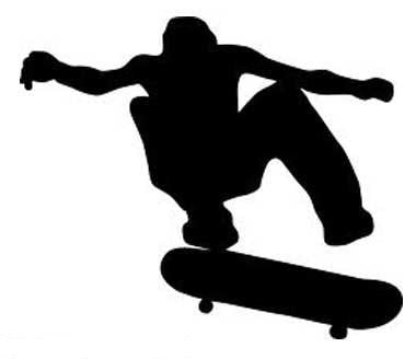Skateboarder silhouette die cut vinyl sticker decal blasted rat