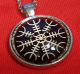 Viking Vegvisir Icelandic Sailor Rough Weather Protection Black Medallion Nordic Jewelry Necklace