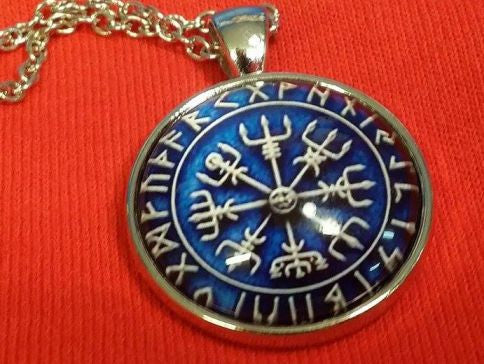 Viking Vegvisir Icelandic Sailor Rough Weather Protection Blue Medallion Nordic Jewelry Necklace