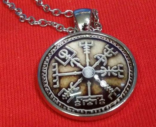 Viking Vegvisir Icelandic Sailor Rough Weather Protection Brown Medallion Nordic Jewelry Necklace