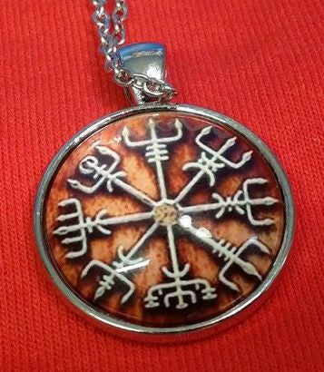 Viking Vegvisir Icelandic Sailor Rough Weather Protection Rusty Brown Medallion Nordic Jewelry Necklace