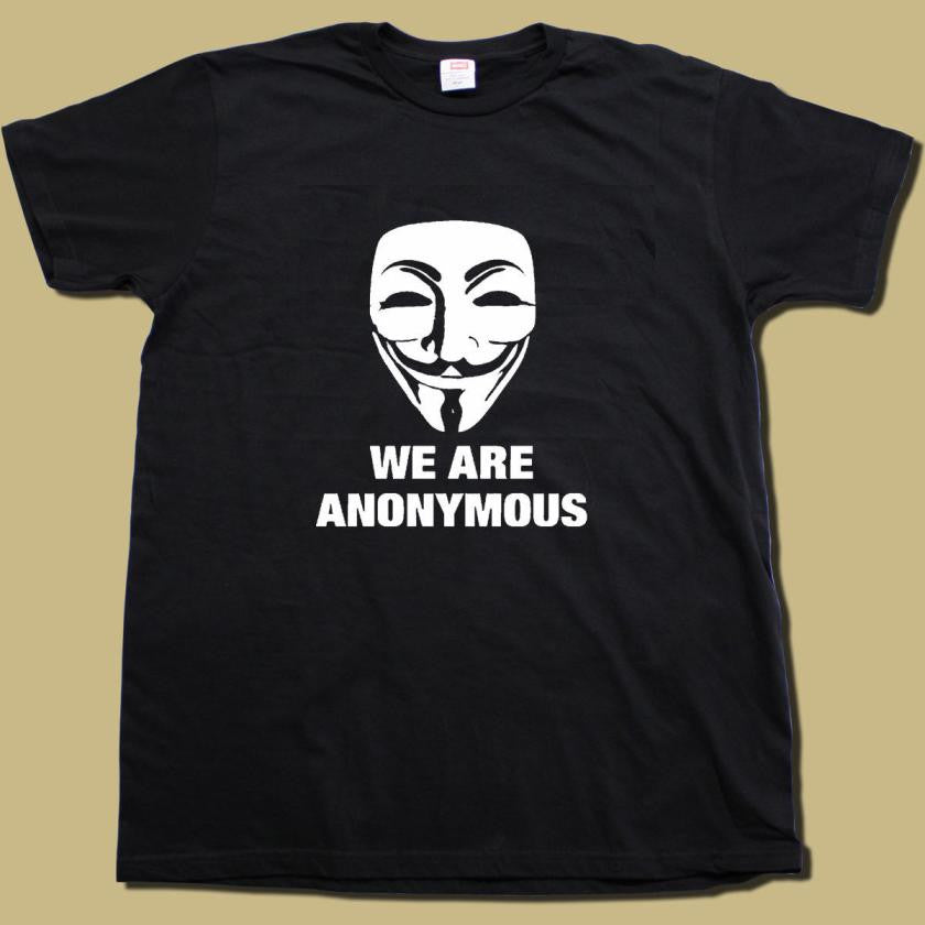 We Are Anonymous Mask White Print T-shirt