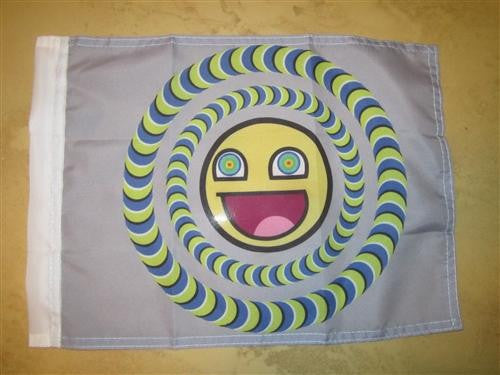 Epic Smiley Awesome Face Colorful Hand Flag 15×12″