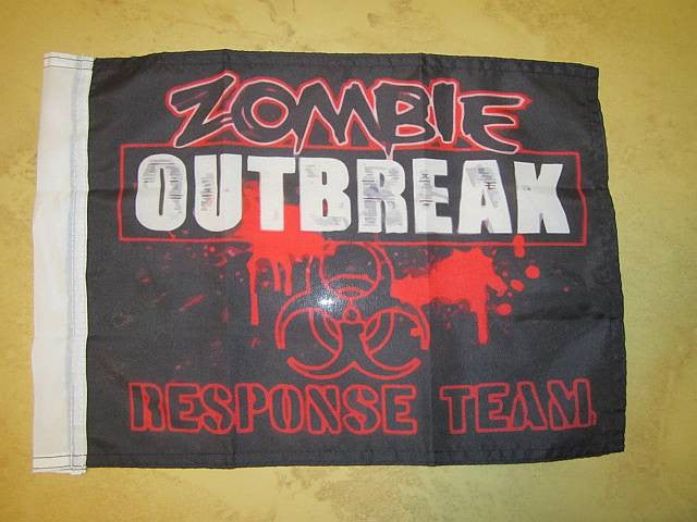 Zombie Outbreak Response Team Flag Black 15×12″