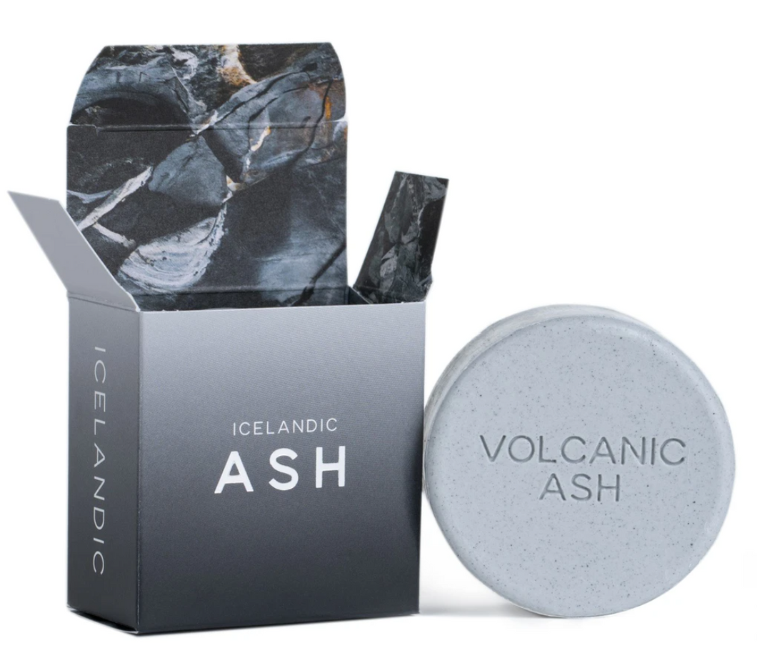 Grey Box with Round Bar of Ash Colored Soap