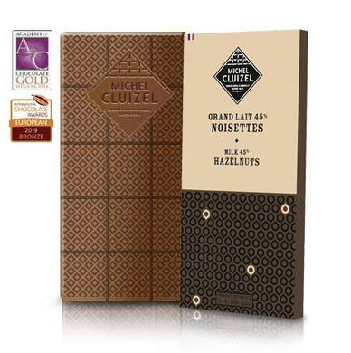 Michel Cluizel Grand Lait 45% Noisettes Chocolate Bar