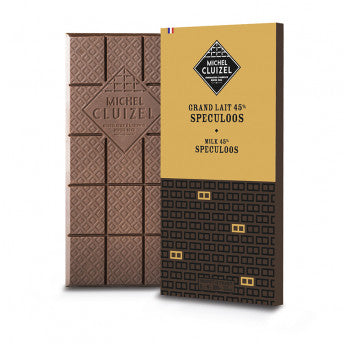 Milk chocolate bar with speculoos cookie Michel Cluizel