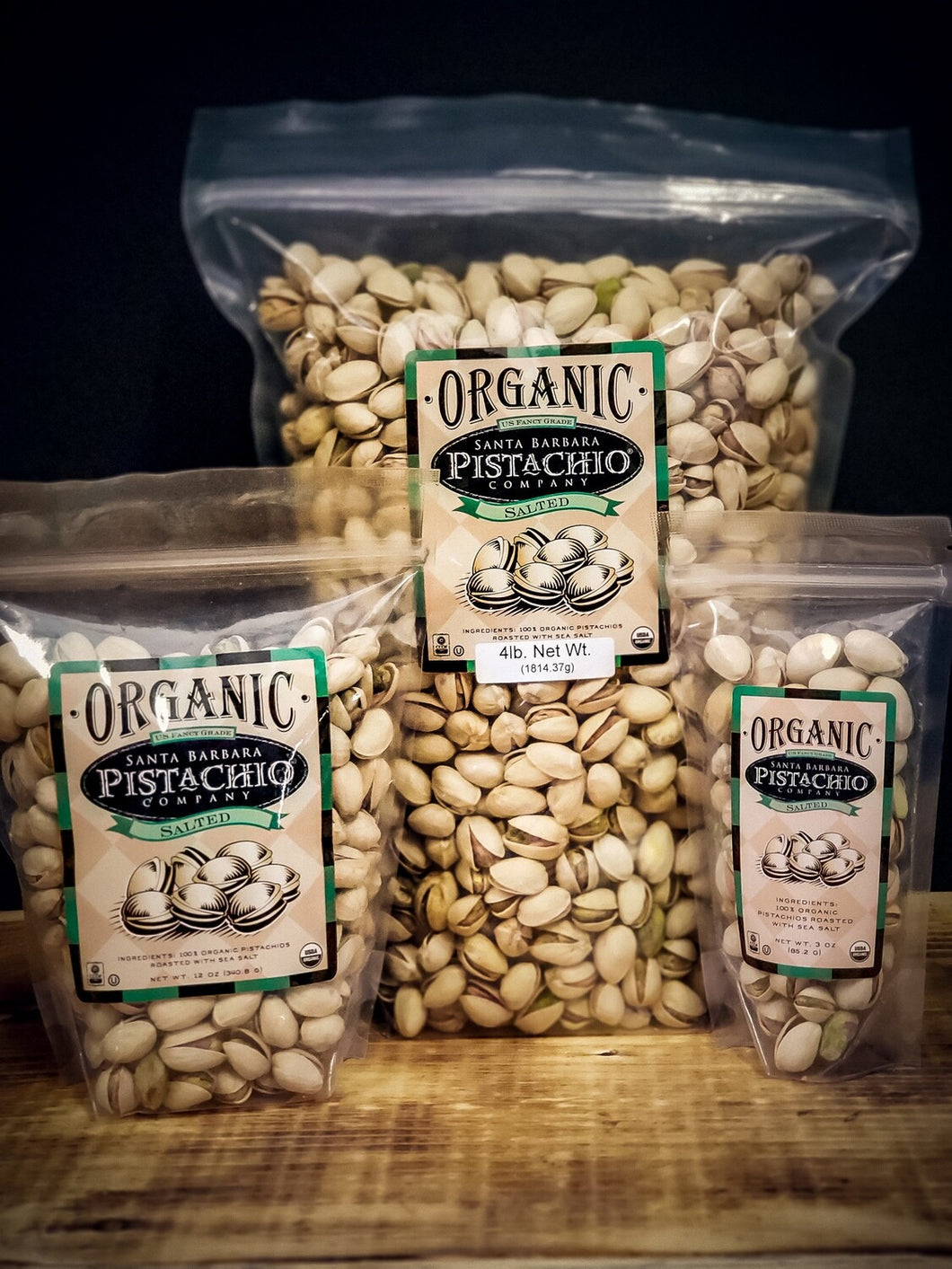 Plain Salted Organic Pistachios in shell