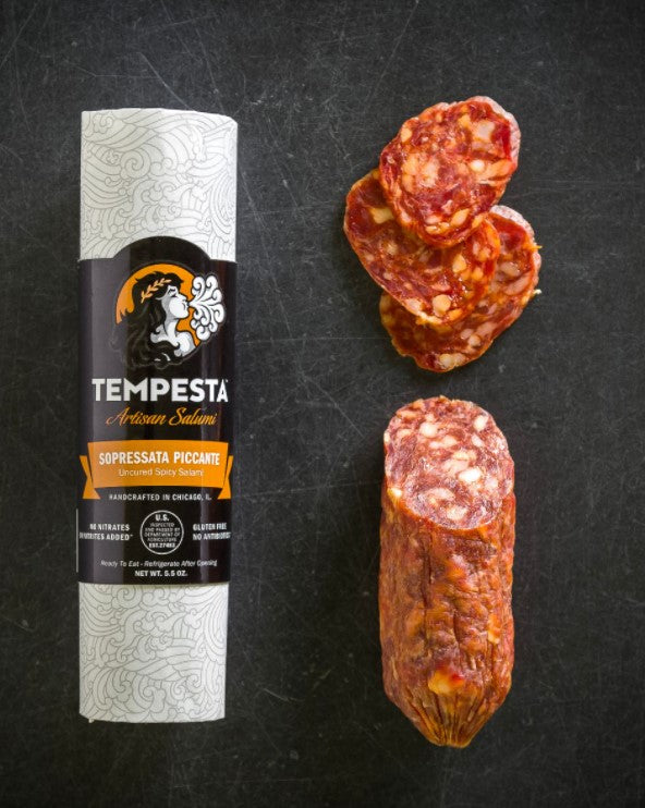Tempesta Soppressata Piccante Wrapped and Open
