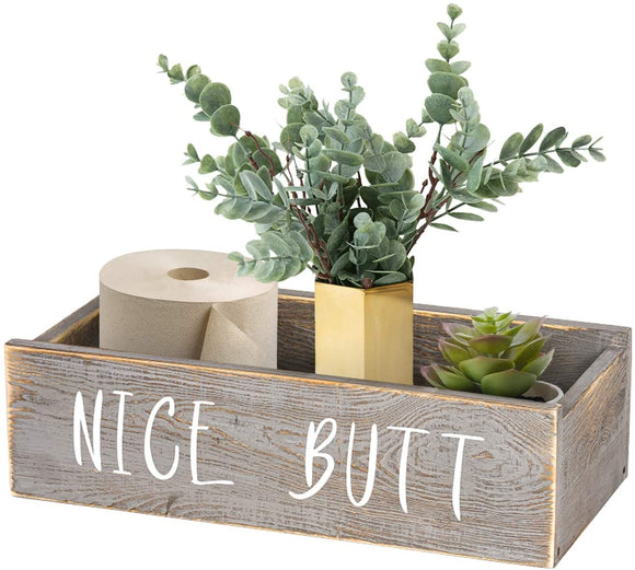 Nice Butt Bathroom Decor Box, Funny Toilet Paper Holder, Wooden Bathroom Box Nice Butt Sign, Farmhouse Rustic Wood Crate Home Decor, Grey