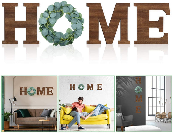 Wooden Letters with Wreath Rustic Wall Hanging Wooden Home  for Home Decor Living Room House, 9.8 x 8.5 Inch