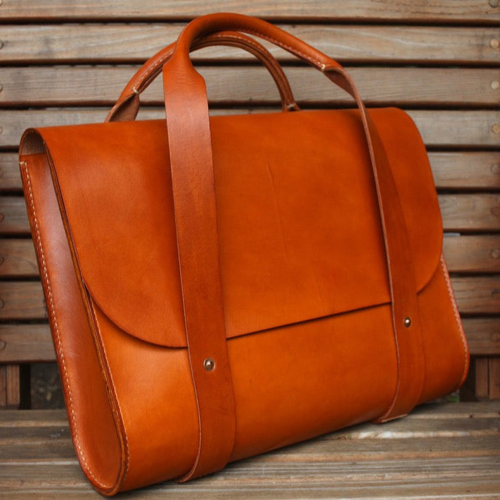 AD Harness Leather Portfolio Bag {Orange Tan}