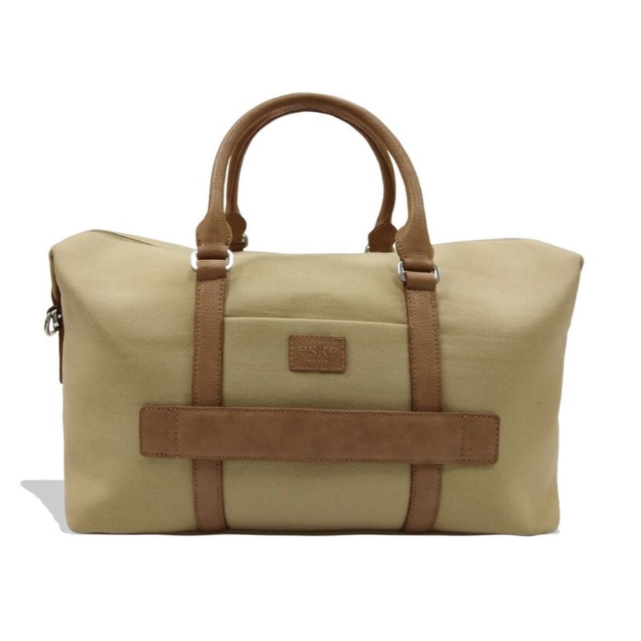 Canvas Leather Overnighter Duffle bag {Pastel green & Brown}