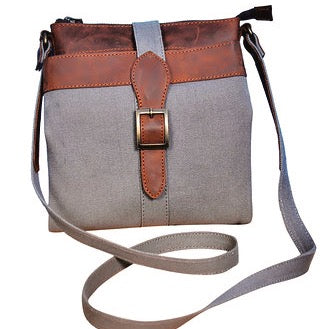 Canvas&Leather Sling {Elephant Grey & Rustic Brown}