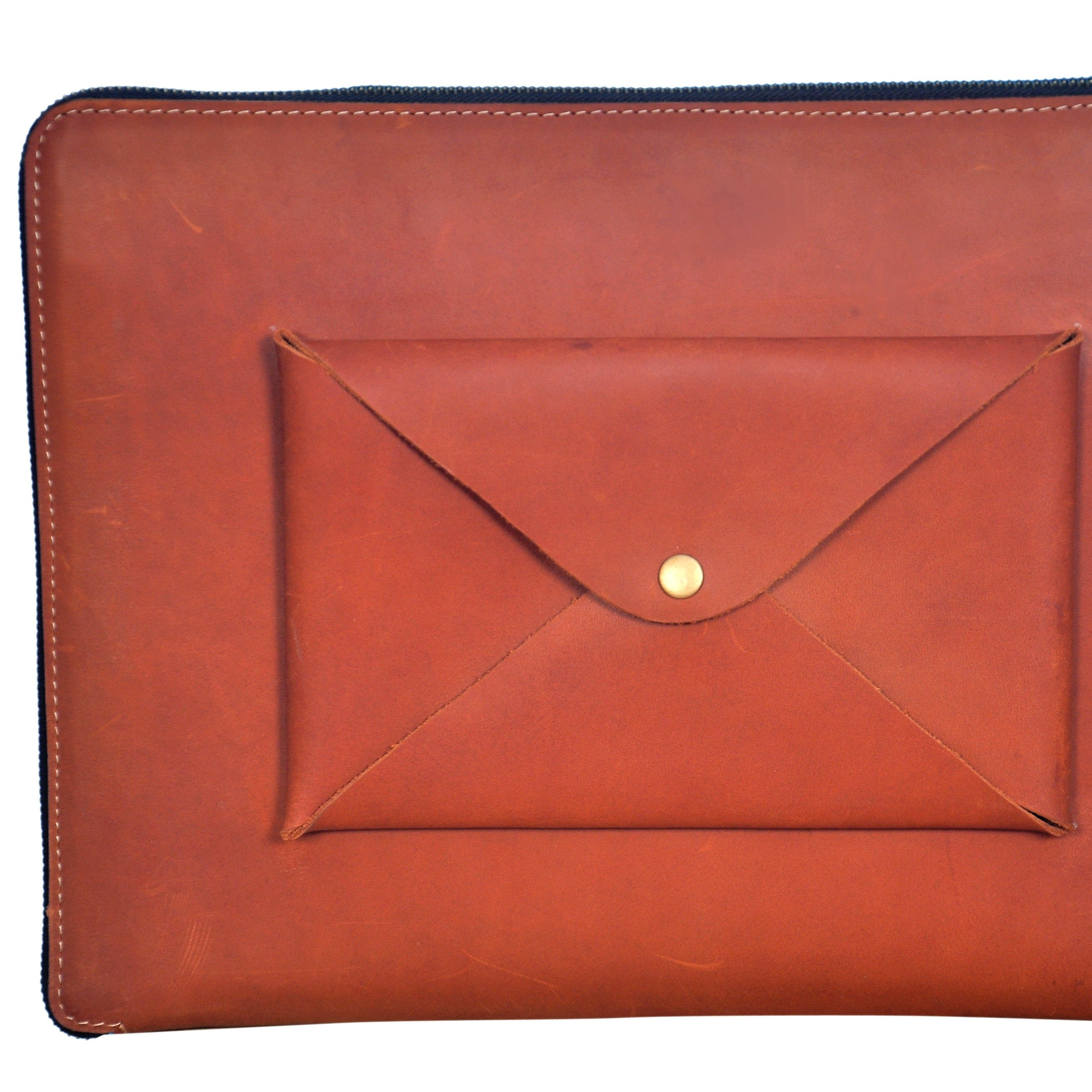 Leather MacBook Sleeve & Padfolio {Vintage Orange}