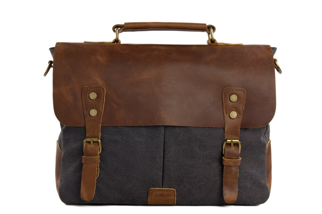 Canvas Leather Laptop Bag {Grey Canvas & Rustic Brown Leather}