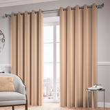 Beige Ready Made Thermal Blackout Eyelet Ring Top Curtain