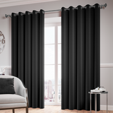 Black Ready Made Thermal Blackout Eyelet Ring Top Curtain