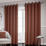 Chocolate Ready Made Thermal Blackout Eyelet Ring Top Curtain