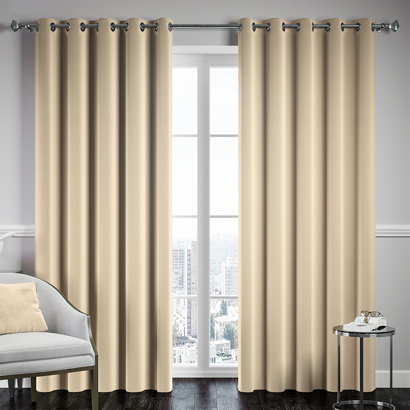 Cream Ready Made Thermal Blackout Eyelet Ring Top Curtain