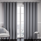 Grey Ready Made Thermal Blackout Eyelet Ring Top Curtain